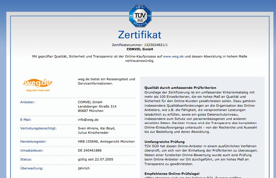 Weg.de TÜV Zertifizierung